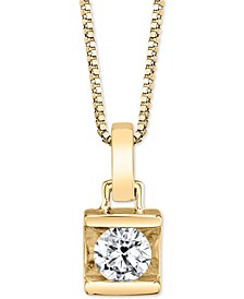 "Diamond (1/4 ct. t.w.) Square-Set 18"" Pendant Necklace"