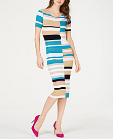 I.N.C. Petite Colorblocked Short-Sleeve Sweater Dress, Created for Macy's