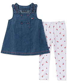 Little Girls 2-Pc. Denim Tunic & Cherry-Print Legging