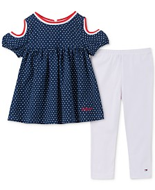 Tommy Hilfiger Toddler Girls 2-Pc. Printed Cold Shoulder Tunic & Leggings Set