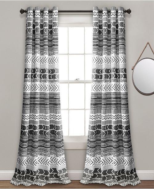 "Lush Decor Hygge Geo Room Darkening Window Curtain Panels Set, 84"" x 52"""