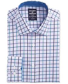 Society of Threads Men's Slim-Fit Performance Stretch Check Dress Shirt