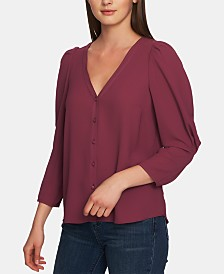 1.STATE Puff-Sleeve V-Neck Button-Up Top