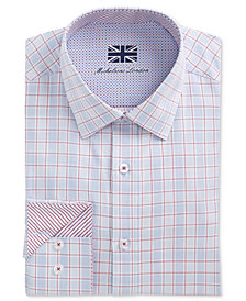 Michelsons of London Men's Slim-Fit Performance Window Pane Dress Shirt
