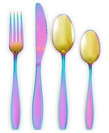 The Cellar Iridescent Rainbow 16-Pc. Flatware Set, Service for 4, Created for Macy's