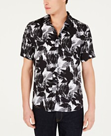 GUESS Men's Dotted Halftone Leaf Print Shirt
