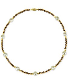 "Cultured Freshwater Baroque Pearl (10mm) and Smoky Quartz (36 ct. t.w.) 18"" Necklace in 14k Gold"