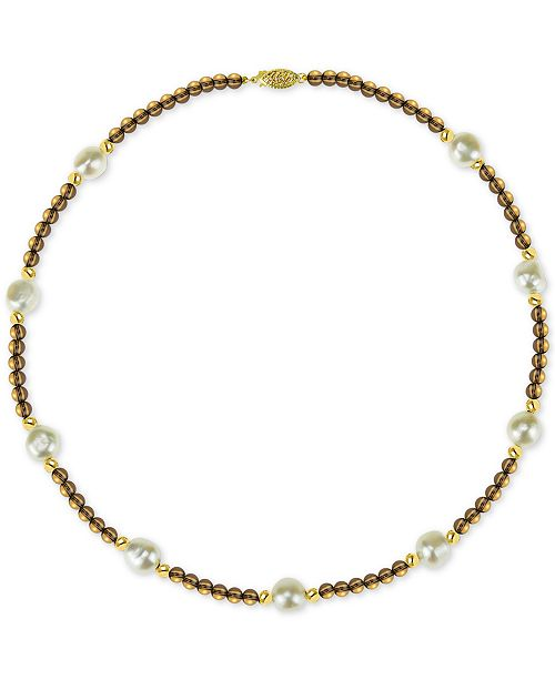 """Macy's Cultured Freshwater Baroque Pearl (10mm) and Smoky Quartz (36 ct. t.w.) 18"""" Necklace in 14k Gold"""