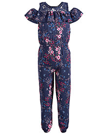 Epic Threads Little Girls Floral-Print Cold Shoulder Jumpsuit, Created for Macy's