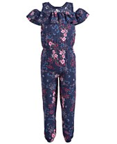 ffded6c381b Epic Threads Little Girls Floral-Print Cold Shoulder Jumpsuit