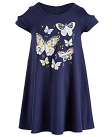 Epic Threads Super Soft Little Girls Butterfly-Print Cold Shoulder Dress, Created for Macy's