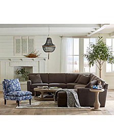 SHOP THE LOOK. Radley 5-Piece Fabric Chaise Sectional Sofa + Derevo Coffee Table + Accessories