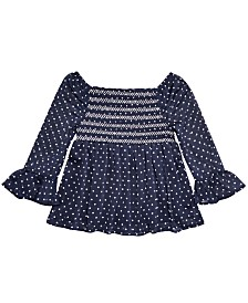Epic Threads Big Girls Dot-Print Smocked Top, Created for Macy's
