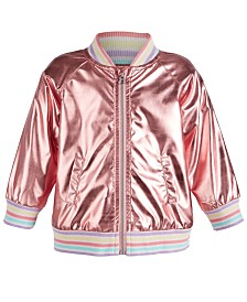 First Impression Baby Girls Metallic Bomber Jacket, Created for Macy's