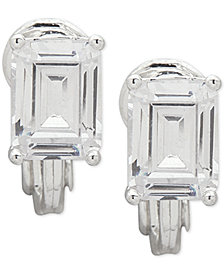 Lauren Ralph Lauren Silver-Tone Crystal Clip-On Button Earrings