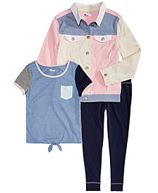 Epic Threads Big Girls Narwhale Graphic T-Shirt, Leggings & Colorblocked Denim Jacket Separates