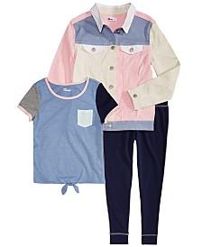 Epic Threads Big Girls Narwhale Graphic T-Shirt, Leggings & Colorblocked Denim Jacket Separates