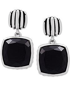 Onyx (12mm) Drop Earrings in Sterling Silver
