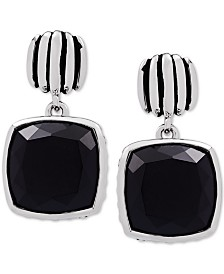Onyx (12mm) Drop Earrings in Sterling Silver