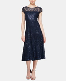 SL Fashions Sequined Lace Midi Dress