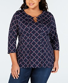 NY Collection Plus Size Embellished Printed Top