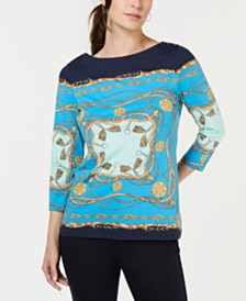 Charter Club Petite Coastal-Scarf Knit Top, Created for Macy's