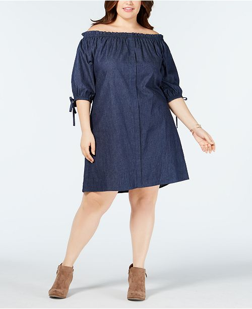 Love Squared Trendy Plus Size Cotton Chambray Dress