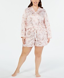 Charter Club Plus Size Long-Sleeve Notch Collar Top & Pajama Shorts Sleep Separates, Created for Macy's