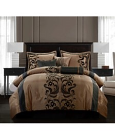 Helda 7-Piece Comforter Set, Tan/Black, California King
