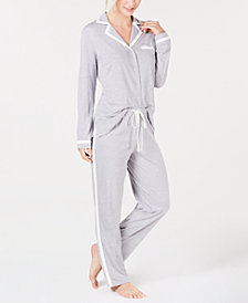 Alfani Contrasting Trim Long Sleeve Top & Pajama Pants Set, Created for Macy's
