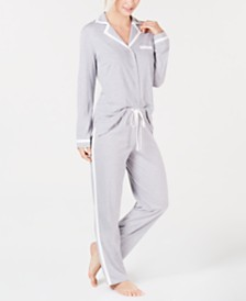Alfani Pima Cotton Long Sleeve Top & Pajama Pants Set, Created for Macy's