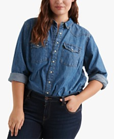 Lucky Brand Cotton Plus Size Western Shirt