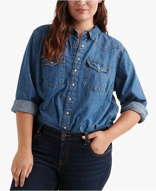 Lucky Brand Cotton Plus Size Western Shirt
