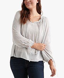 Lucky Brand Cotton Plus Size Embroidered Peasant Top