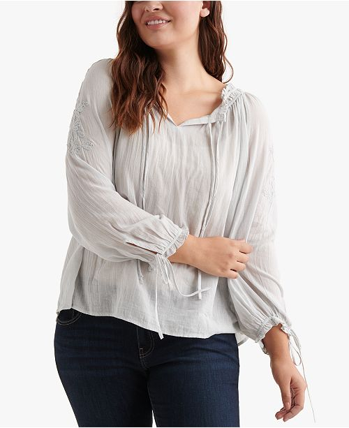 1ba454a687dcea Lucky Brand Cotton Plus Size Embroidered Peasant Top & Reviews ...