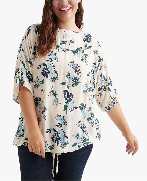 Lucky Brand Plus Size Floral-Print Boat-Neck Top