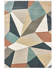 "Carson 9659B Blue/Orange 3'10"" x 5'5"" Area Rug"