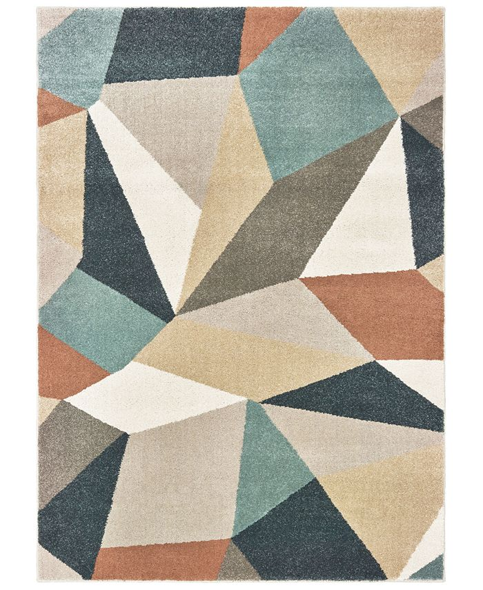 "Oriental Weavers - Carson 9659B Blue/Orange 6'7"" x 9'2"" Area Rug"