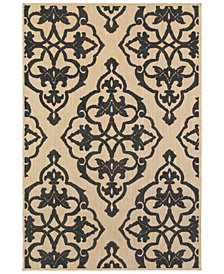 "Oriental Weavers Cayman 001B9 Sand/Charcoal 1'10"" x 3'3"" Indoor/Outdoor Area Rug"