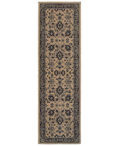 "Oriental Weavers Foundry 596I5 Sand/Gray 2'7"" x 9'4"" Runner Area Rug"