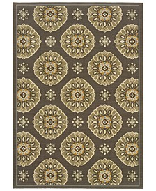 "Bali 5863N Gray/Gold 7'10"" x 10'10"" Indoor/Outdoor Area Rug"