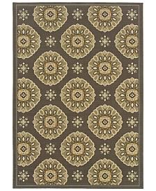 """Oriental Weavers Bali 5863N Gray/Gold 1'9"""" x 3'9"""" Indoor/Outdoor Area Rug"""