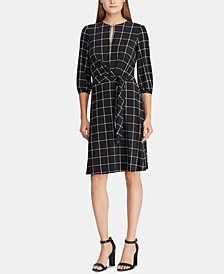 Lauren Ralph Lauren Windowpane Keyhole Dress