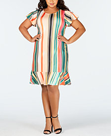 ECI Plus Size Striped Shift Dress