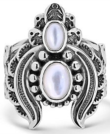 Double White Mother of Pearl Ring with Feather Scroll work in Sterling Silver