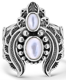American West Double White Mother of Pearl Ring with Feather Scroll work in Sterling Silver