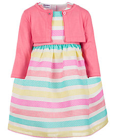 Blueberi Boulevard Toddler Girls 2-Pc. Cardigan & Printed-Striped Dress Set