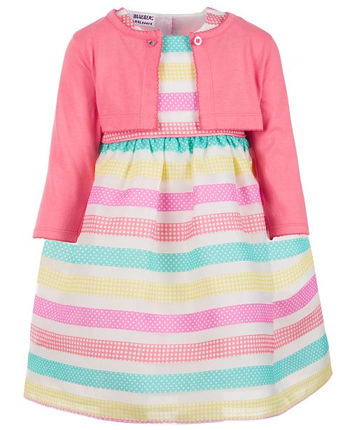 9f7a6b209 ... Cardigan Set; Blueberi Boulevard Little Girls 2-Pc. Striped Dress &  Cardigan ...