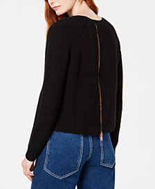 Bar III Zip-Back Ribbed Sweatshirt, Created for Macy's