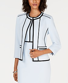 Kasper Petite Collarless Contrast-Piped Jacket